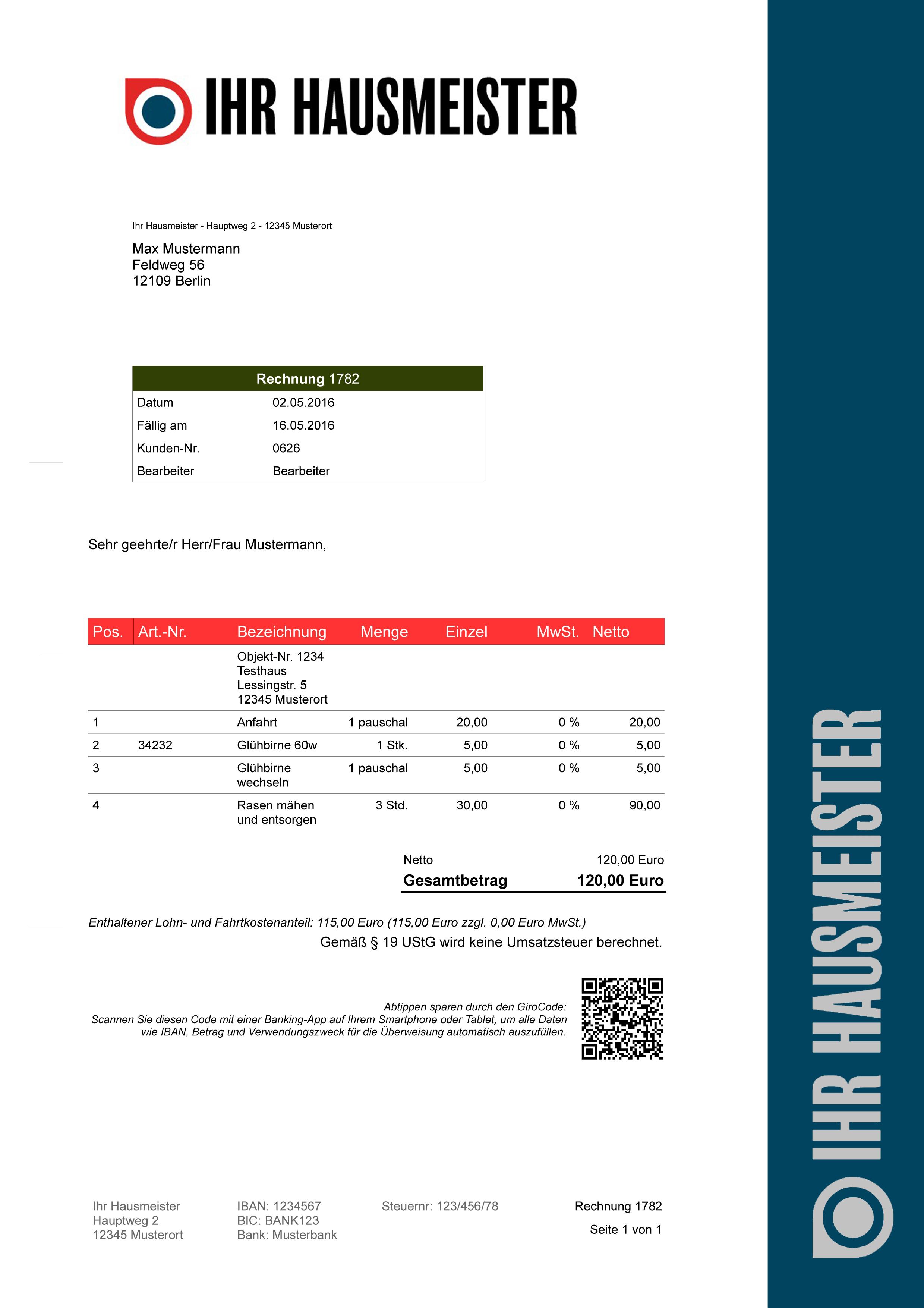 Softwareprogramme24 Hausmeister Rechnungsprogramm